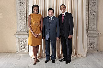 Turkmenistan - President of Turkmenistan Gurbanguly Berdimuhamedov with the President of the United States Barack Obama and First Lady Michelle Obama