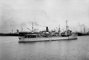 HMAS Parramatta (D55) - Parramatta anchored in Port Adelaide in December 1910, shortly after arriving in Australian waters for the first time