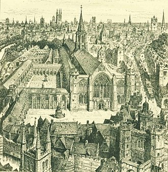 Greyfriars, London - View of the Greyfriars as imagined by H.W. Brewer in 1895