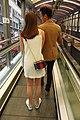 HK Central 些利街 Shelley Street escalators visitors white dress female long hair April 2018 IX2.jpg