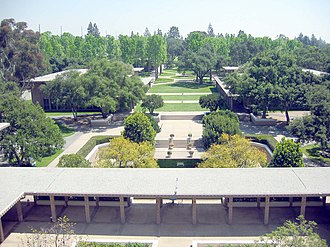 Harvey Mudd College - View of central campus, looking out of the former Norman F. Sprague Memorial Library.