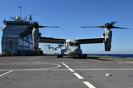 HMS Ocean with a USMC V-22 Osprey on her deck