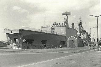 Tiger-class cruiser - The decommissioned HMS Tiger at Portsmouth Navy Days in 1980, showing the helicopter deck and hangar added in 1968–71.