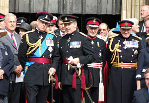 Richard Dannatt - Dannatt (far right) with James Dugdale, 2nd Baron Crathorne, Lord Lieutenant of North Yorkshire; then-Major General Nick Houghton; and Prince Andrew, Duke of York (left)