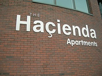 The Haçienda - The rebuilt Haçienda flats logo in 2007