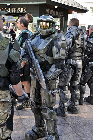 Master Chief (Halo) - A cosplayer portraying Master Chief at the Atlanta Dragon Con parade in 2011.