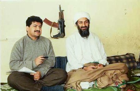 Pakistani journalist Hamid Mir interviewing Osama bin Laden in Afghanistan, 1997 Hamid Mir interviewing Osama bin Laden.jpg
