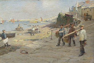 Harold Harvey (artist) - The Old Slip, Newlyn; by Harold Harvey