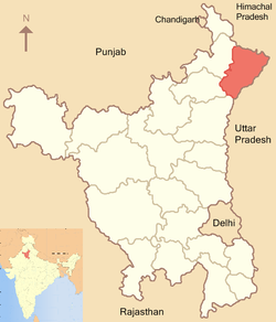 Location of Yamuna Nagar district in Haryana