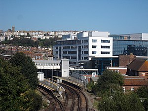 Sussex Coast College Hastings -  Plaza building seen from across the adjacent Hastings railway station
