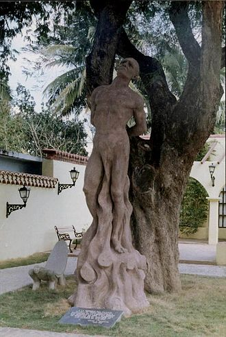 Hatuey - Monument of Taino chief Hatuey in Yara city, depicting the moment he was burnt by Spanish soldiers, bound to a Tamarind tree planted in 1907.