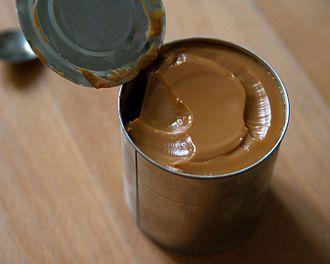 Condensed milk - Condensed milk boiled for several hours to become homemade dulce de leche