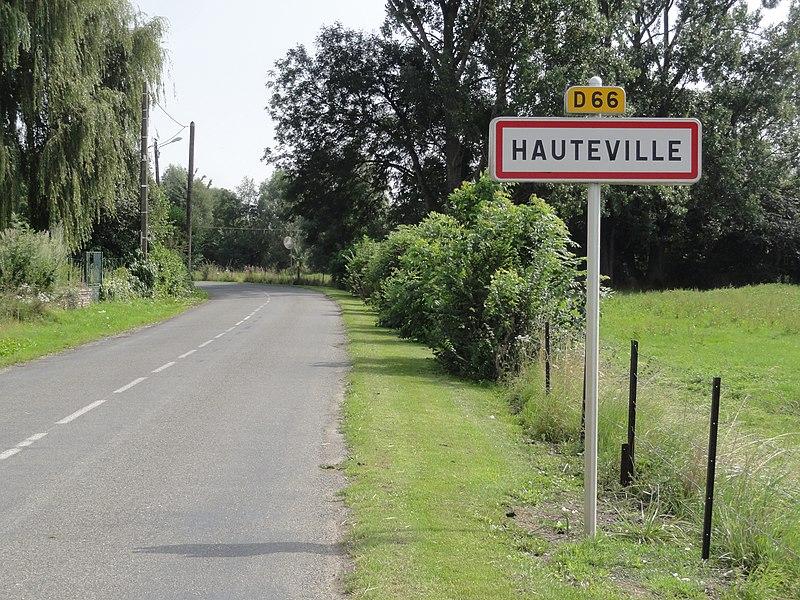 Hauteville (Aisne) city limit sign