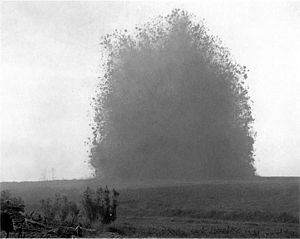 The Battle of the Somme (film) - Image: Hawthorn Ridge Redoubt mine (1 July 1916) 1