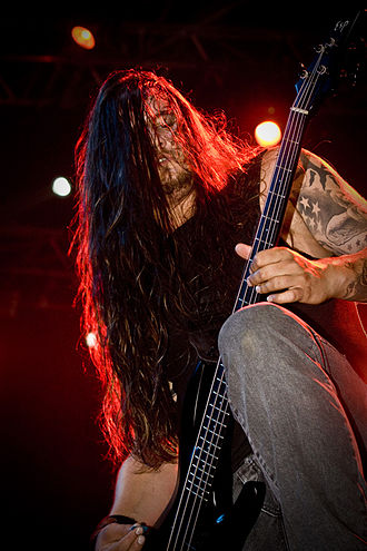 Heaven Shall Burn - Bassist Eric Bischoff performing at Resurrection Fest 2010