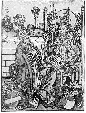 Henry IV of Absberg - Woodcut of Henry IV of Asberg as a bishop, kneeling before Saint Peter (Michael Wolgemut, reproduced from Buchberger, 1200 Jahre Bistum Regensburg (1939:45).