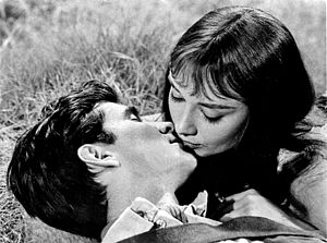 Green Mansions (film) - Original studio publicity photo of Anthony Perkins and Audrey Hepburn for Green Mansions.