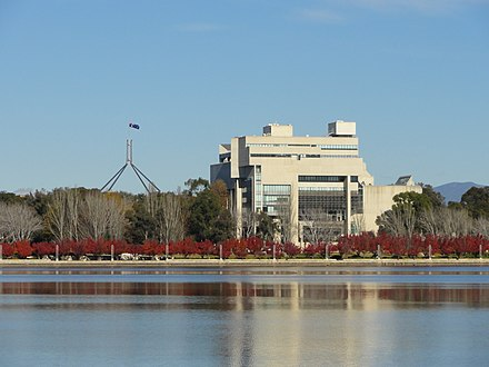High Court building, viewed across Lake Burley Griffin High Court of Australia - panoramio.jpg