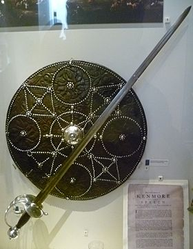 Targe or shield and broadsword; the classic Highlander weapons Highland targe and broadsword.jpg