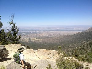 Cibola National Forest - Resting and enjoying the view from the top of the Cienega Trail in the Sandia Mountains