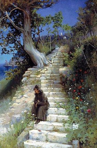 Nikolaos Himonas - Anchorite on the Steps of the Temple