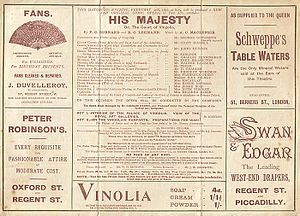 His Majesty (comic opera) - Cast list from opening night programme at the Savoy Theatre
