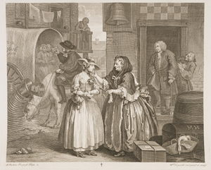 "Francis Charteris (rake) - William Hogarth's A Harlot's Progress, plate 1, showing Molly's arrival in London, with Colonel Francis Charteris and ""Handy Jack"" leering in the background, while a syphilitic madame Elizabeth Needham in the foreground procures her first."