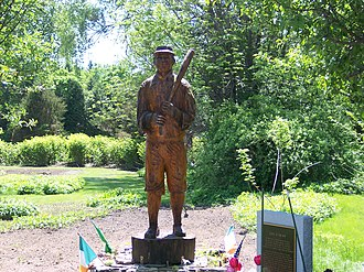"Casey at the Bat - Holliston, Massachusetts – Mudville Village, Statue and Plaque Dedicated to ""Casey"" of ""Casey at the Bat"""