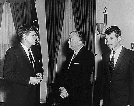 J. Edgar Hoover (middle) with John and Robert Kennedy in 1961 Hoover Kennedys 1961 by Abbie Rowe.jpg