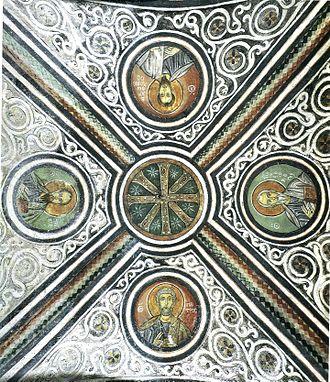 Macedonian art (Byzantine) - Image: Hosios Loukas Crypt (west groin vault)