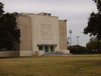 Lamar High School (Houston) - The entrance to the Lamar High School auditorium is decorated with a map of the state of Texas.