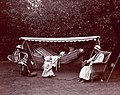 Hunger striking Suffragettes resting in the garden of Dorset Hall, Merton Park.jpg