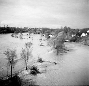 Effects of Hurricane Hazel in Canada - The Weston Golf Club was left submerged after the Humber River burst its banks during Hurricane Hazel.