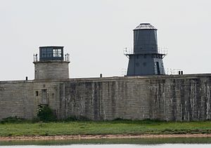Hurst Point Lighthouse - Low lighthouses within the west wing of Hurst Castle