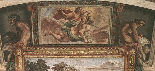 Hyacinth Borne to the Heavens by Apollo with satyrs - Annibale Carracci - 1597 - Farnese Gallery, Rome.jpg