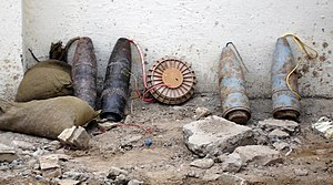 Improvised explosive device - Ammunition rigged for an IED discovered by Iraqi police in Baghdad in November 2005
