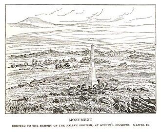 Battle of Schuinshoogte - Monument erected to the memory of the fallen (British) at Schuin's Hooghte, Majuba