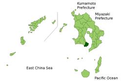 Vị trí của Ibusuki ở Kagoshima