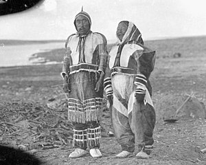 Diamond Jenness - Hubert Wilkins photograph of Ikpukhuak and his shaman wife Higalik