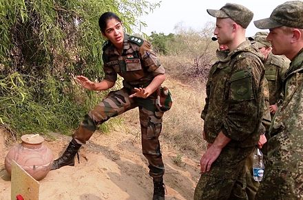 An Indian Army officer briefing Russian soldiers during a joint exercise in 2015 Indian army lady officer.jpg