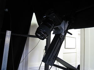 One of two cameras on a book scanner at the In...