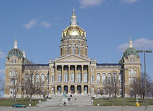 Iowa State Capitol in Des Moines, Iowa, after ...