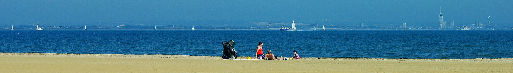 The beach at Ryde on the Isle of Wight. The tower visible is the Spinnaker in Portsmouth.