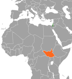 Map indicating locations of Israel and South Sudan