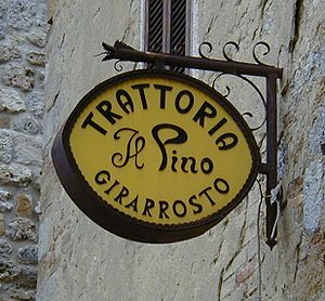 English: Italian Trattoria sign. This photo wa...