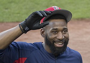Jackie Bradley Jr. - Bradley with the Boston Red Sox in 2017