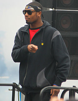Jacoby Jones at the Baltimore Ravens Super Bowl XLVII victory celebration.jpg