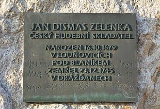 Jan Dismas Zelenka - Zelenka's memorial plaque in Louňovice pod Blaníkem, Czech Republic