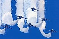 Japan air self defense force Kawasaki T-4 Blue Impulse RJAH Wide to Delta Loop.JPG
