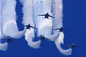 Blue Impulse - Image: Japan air self defense force Kawasaki T 4 Blue Impulse RJAH Wide to Delta Loop